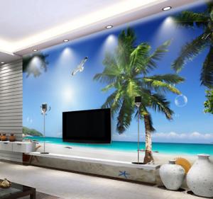 Papel Pintado Mural De Vellón Cocotero De Playa 2 Paisaje Fondo De Pansize ES