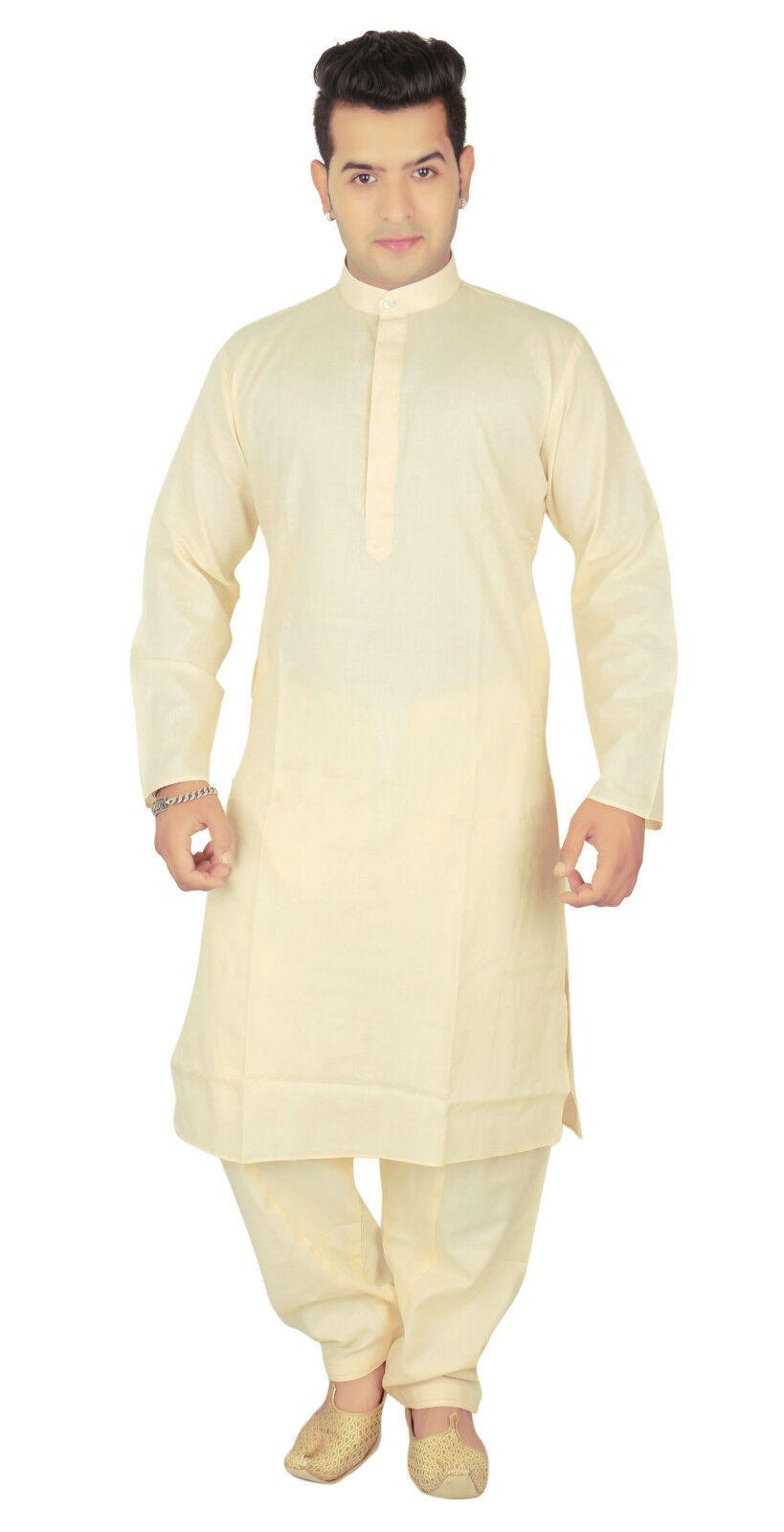 Herren Baumwolle creme Kurta Shalwar Kameez Kameez Kameez Pyjama vor Hochzeit Party | Bequeme Berührung  455bb7