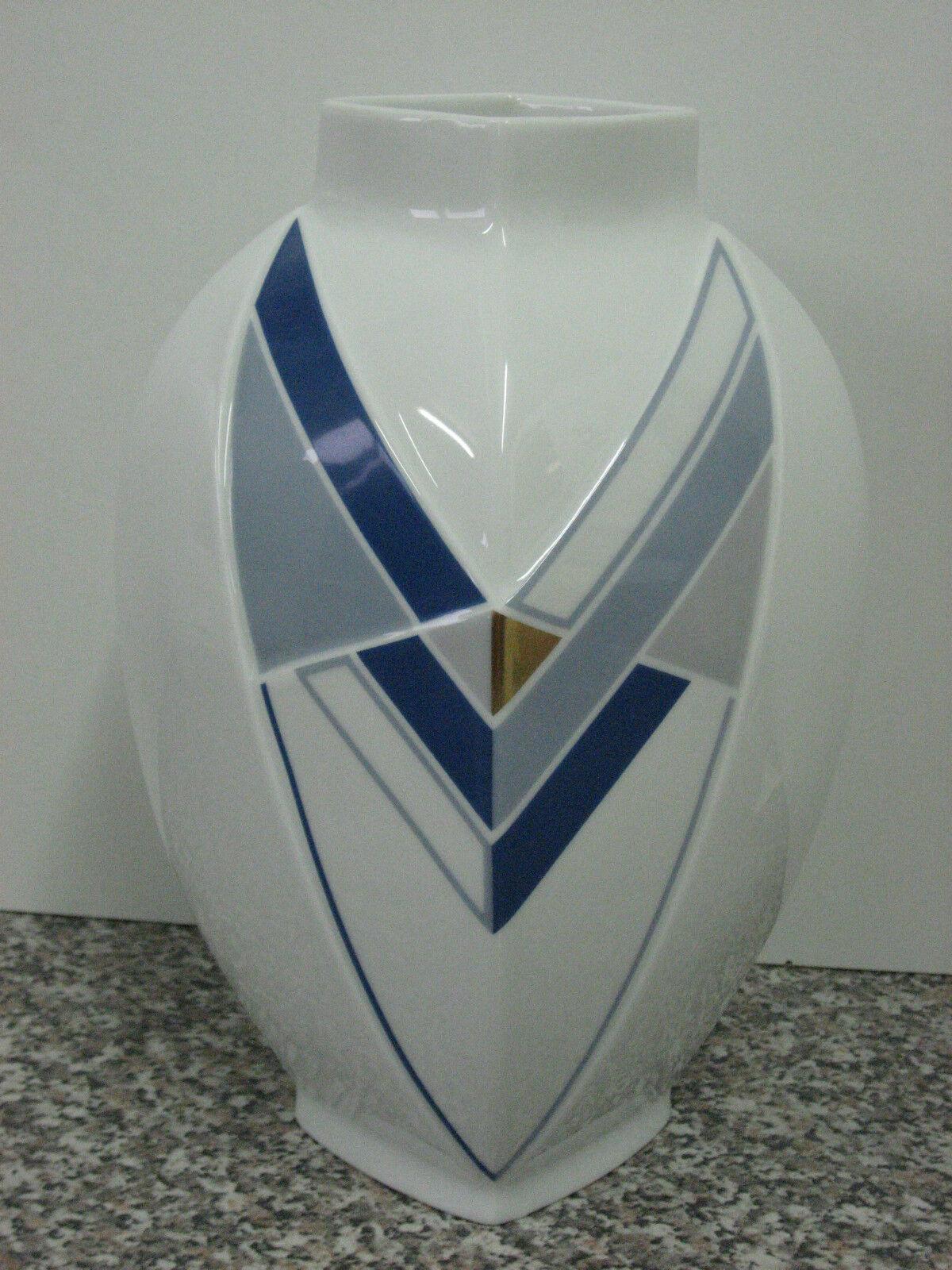 Thomas Porzellan -  Vase - Graphic - weiß - blau - Höhe ca. 26cm TOP   | Glücklicher Startpunkt