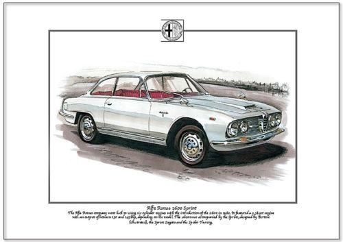 Fine Art Print A4 size ALFA ROMEO 2600 SPRINT Italian Saloon Car by Bertone