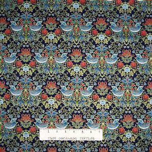 Tree-of-Life-Fabric-Blue-Grey-Bird-Damask-on-Navy-Timeless-Treasures-YARD