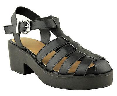 Señoras MUJERES bloque talón Gladiator Cerrado Toe Con Tiras De Sandalias De Plataforma Zapatos Talla