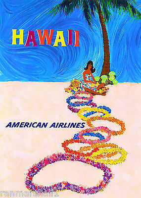 Hawaii Hawaiian Island Hula Girl Vintage U.S. Travel Advertisement Art Poster