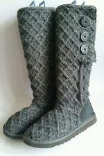 Women's UGG  Australia Lattice Candy Charcoal Grey Knit Boots UK Size 4.5