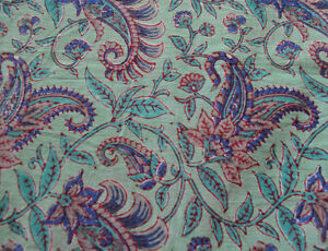 Indian Hand Block Print Dressmaking Cotton Fabric Green Sewing Floral 10Yard New