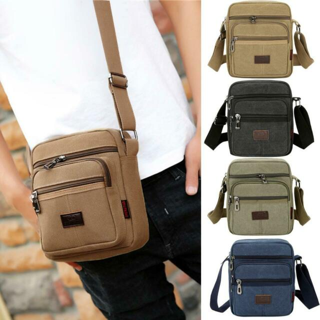 H3E# Canvas Crossbody Shoulder Bag Men Zipper Casual Travel Male Messenger Pack
