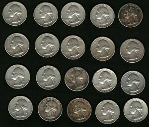 Lot-of-20-Washington-Silver-Quarters-Coins-Years-1962-1963