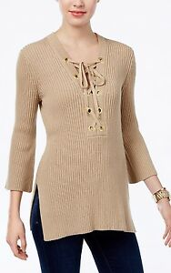 c33b613a27a Image is loading Michael-Kors-MH66N4U4VE-Lace-Up-Tunic-Sweater-with-