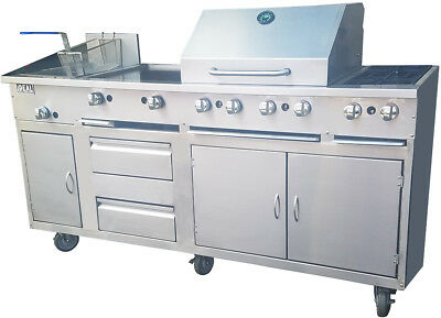 New Ideal Food Cart. All in one. Fryer, Griddle, Broiler & 2 open burners.