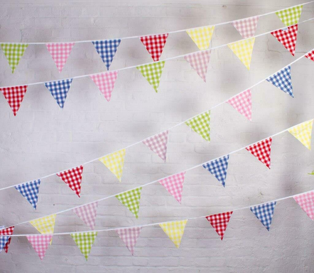 Festival-Stars//Stripes//Polka 100/% Cotton 10m//33 Flags Double Sided Bunting