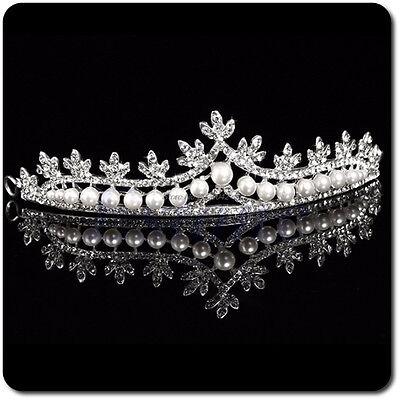 2019 Haarschmuck Hochzeit Braut Kommunion Haarband Stirnband Tiara Braut Strass Glasperlen wei/ß ivory