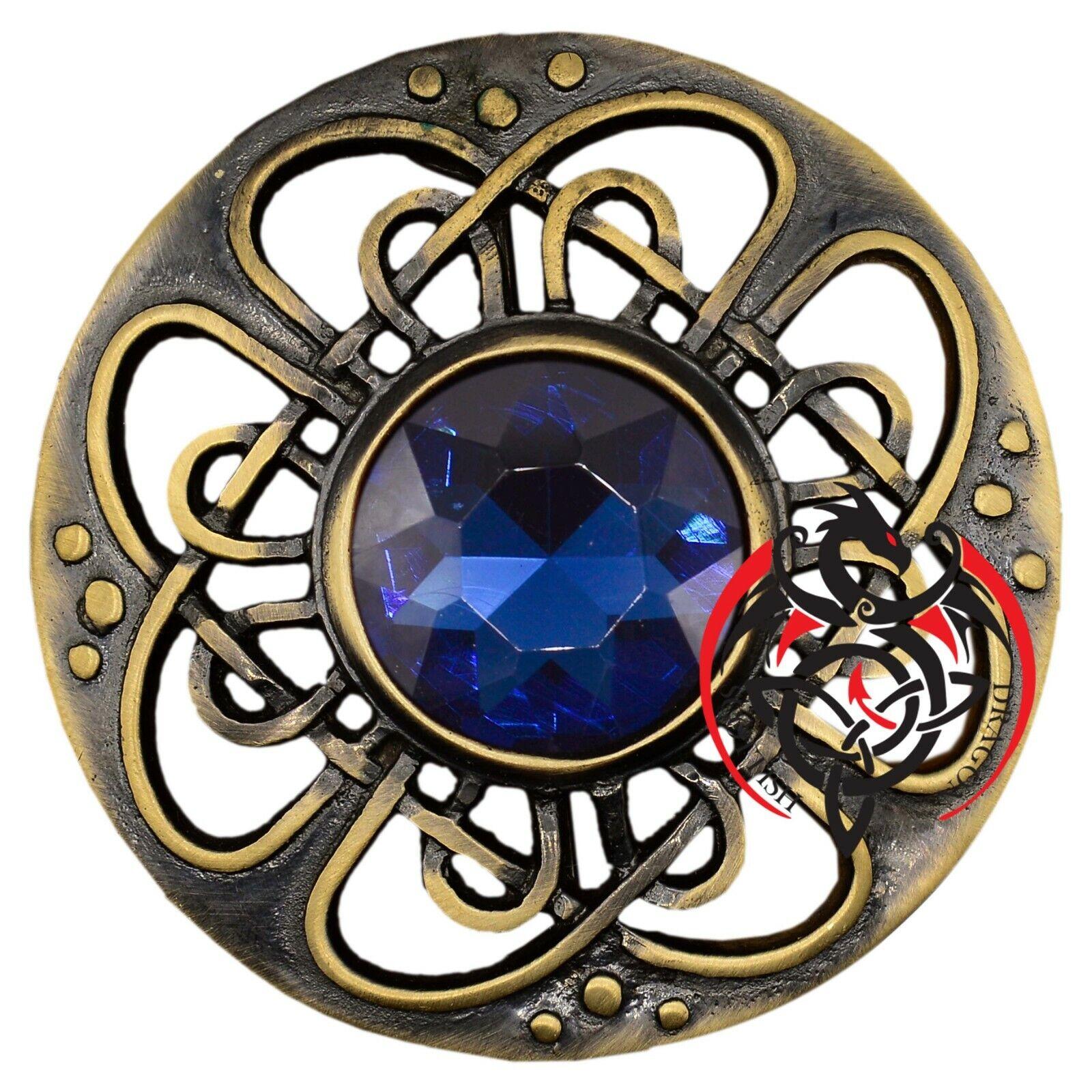 Highland Kilt Fly Plaid Brooch Blue Stone Antique Finish 3