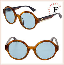 f803182664b GUCCI 0280 Brown Sylvie Stripe Blue Round Unisex Sunglasses GG0280SA  Authentic