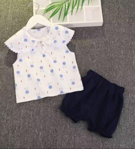 18-24 months summer set 100/% cotton New Girls Shorts /& T-shirt summer outfit