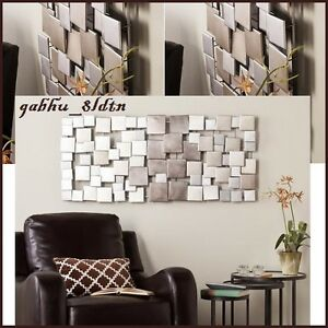 Image is loading Huge-Metal-Abstract-Modern-Silver-Wall-Art-Sculpture-