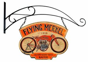 """FLYING MERKEL MOTORCYCLE DOUBLE SIDED 17"""" HEAVY DUTY USA MADE METAL ADV SIGN"""