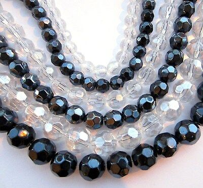 Round faceted glass beads. Choose colour and size 6mm 8mm 10mm 12mm FG8