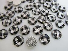 60 Craft Rhinestones 10mm Hot Fix Iron On/jewel/studs/trim/White E14-Black Plaid