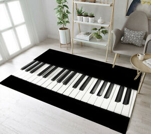 Details about Black and White Piano Keys Floor Mat Bedroom Carpet Living  Room Decor Area Rugs