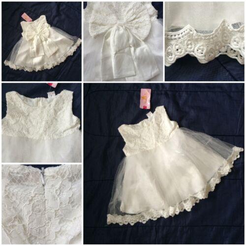 BABY GIRLS WEDDING IVORY//CREAM CHRISTENING BRIDESMAID LACE CHILD DRESSES