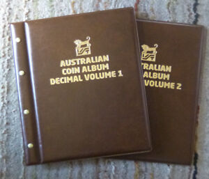 VST-AUSTRALIAN-2-Volumes-DECIMAL-COIN-ALBUMS-BROWN-Colour-1966-to-2018-MINTAGES