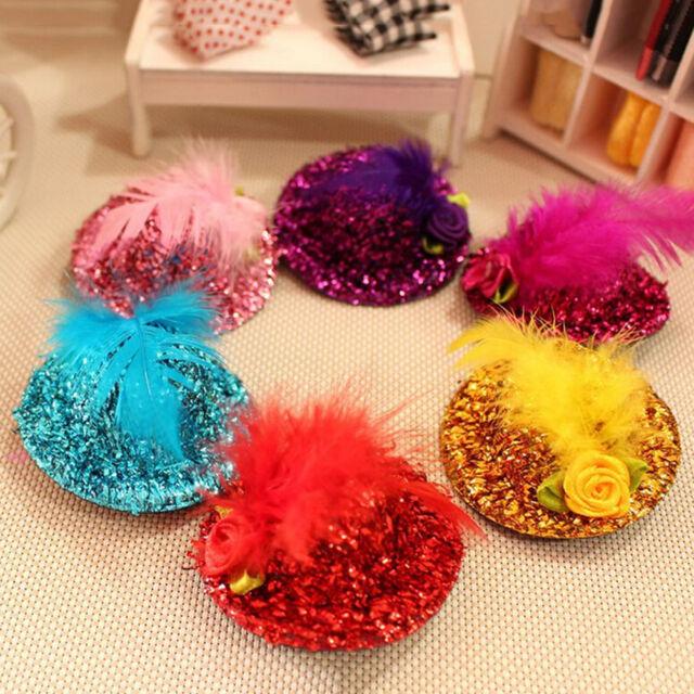 Mini Hats Hair Clip Girl Feather Hairpin Shiny Cap Bobby Pin Random Color Pop SP