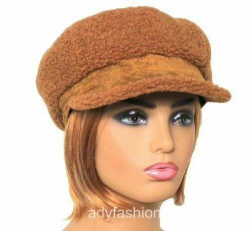 BROWN Fleece Teddy Bear Fleece Knit Baker Boy Newsboy Cap Hat Womens Ladies