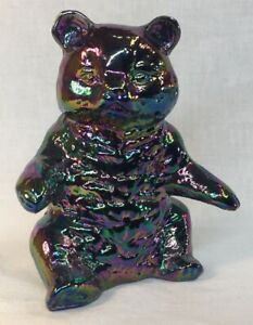 Mosser-Art-Glass-Solid-Sitting-Bear-Amethyst-Carnival-Discontinued-Item