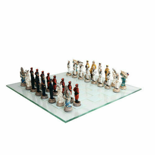 15  WWII USA vs Japan Polystone Chess Set with Glass Chess Board