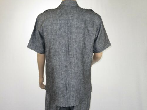 Details about  /men 2pc linen walking Set By Apollo King Summer Leisure suit L209 Charcoal Black