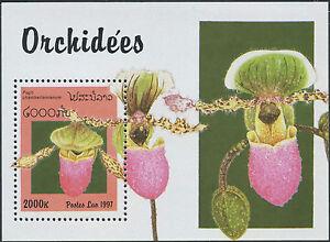 LAOS-Bloc-N-138-Bf-fleurs-Orchidee-1997-flowers-orchids-Sheet-MNH
