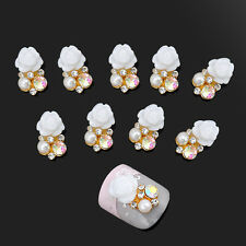 10pcs 3D Clear Alloy Rhinestone Pearl Flower Nail Art Slices DIY Decoration New