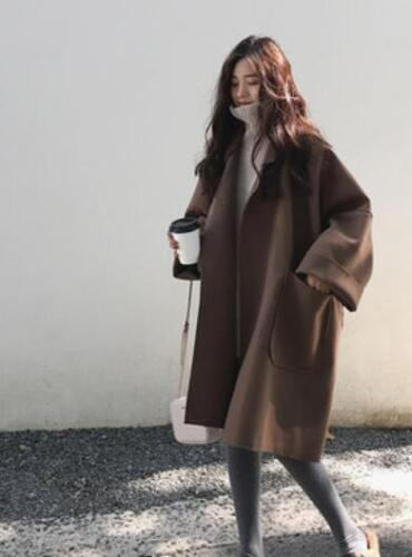 Oversize Kvinders Trench F90 Loose Jacket piger Overcoat Wool Casual Outwear Blend SxPxBwCq