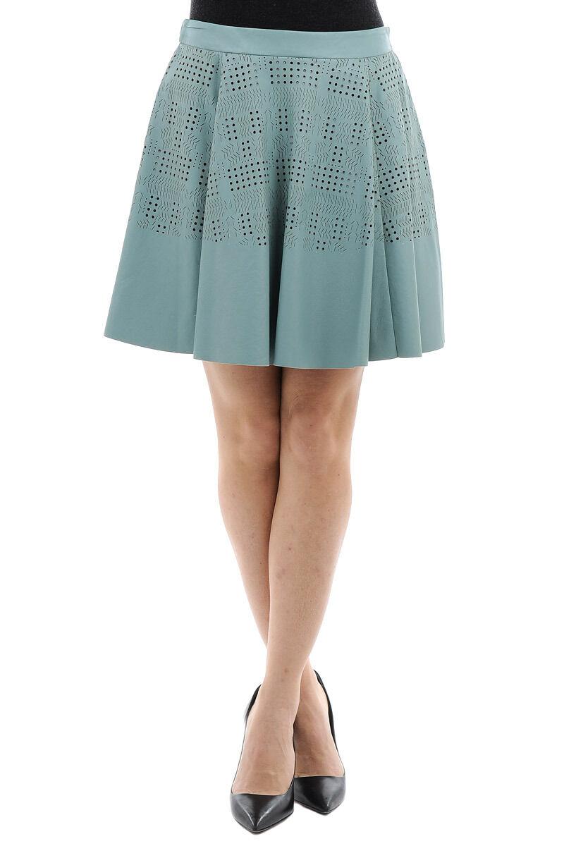 DROME New Woman Water bluee Laser Cut LAMB LEATHER Pleated A-Line Mini Skirt Sz S