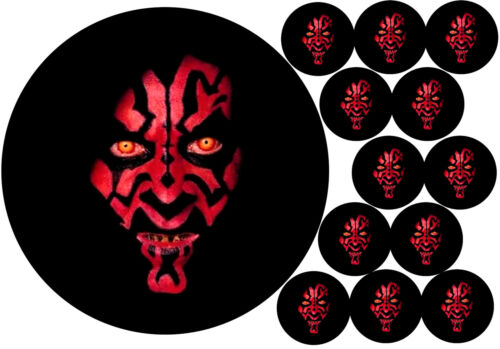 """7.5/"""" Cake Topper 12 cupcakes Darth Maul personal Rice paper,Icing fondant.869"""