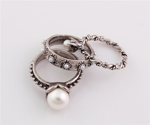 R1110 JLM's Charming Vintage Silver Plated Metal 3 pieces Finger Rings Size 5-6