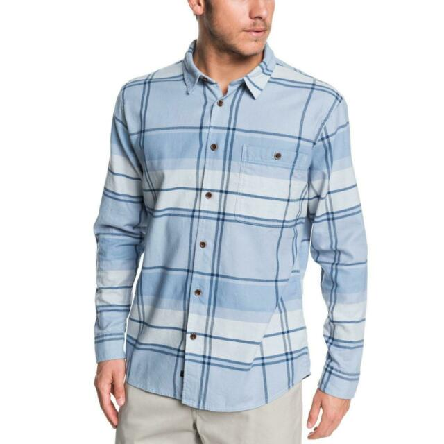 Quiksilver Mens Unfiltered Stoke Blue Plaid Button-Down Shirt S BHFO 1229
