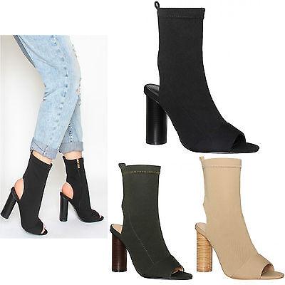 Damen Peeptoe Zylinder hoher Absatz gestrickt Stretch Stiefeletten Schuhe