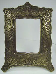 Antique Art Nouveau Frame Heart Scroll Cast Iron Brass