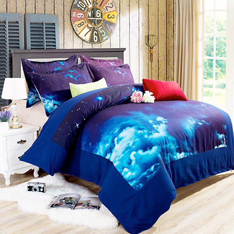 3D Stars Sky Bule 806 Bed Pillowcases Quilt Duvet Cover Set Single Queen UK Kyra