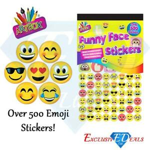 500-x-Funny-Face-Emoji-Smiley-Teacher-Reward-Stickers-Parent-Kids-Awards