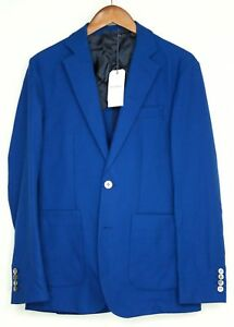 Hardy-Amies-Mens-Sport-Coat-36R-Royal-Blue-Hopsack-Cotton-Wool-Patch-Pocket-MOP