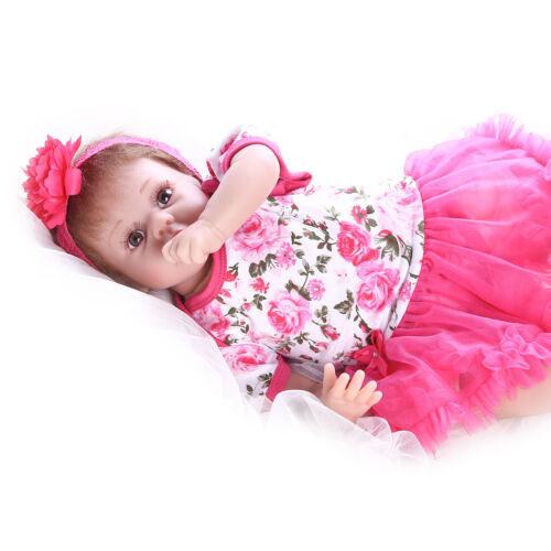 "Pompon 22/"" Weighted Body Gift Set Reborn Baby Dolls Realistic Silicone Vinyl"