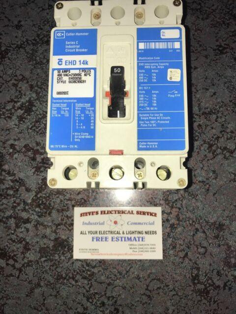 Cutler Hammer 50 Amp Circuit Breaker 3 Pole 480 VAC EHD3050 | eBay