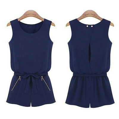 Women Sleeveless Bowknot Casual Short Pants Jumpsuit Romper Playsuit Excellent