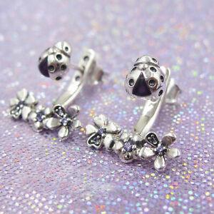 Authentic-925-Sterling-Silver-Ladybug-Meadow-Jacket-Earrings-Purple-Enamel-amp-CZ