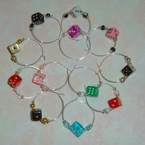 12-DICE-Wine-Glass-Charms-Fun-Colors-Bunco-Bunko-Poker-Casino-Party-Gamers