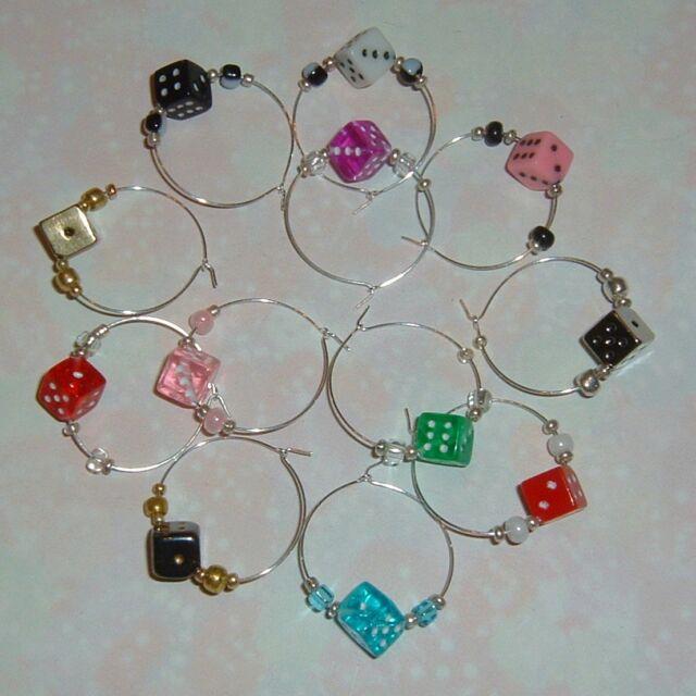 12 DICE Wine Glass Charms Fun Colors Bunco / Bunko, Poker / Casino Party, Gamers