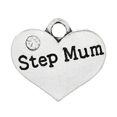 5 ANTIQUE SILVER STEP MUM HEART CHARMS~PENDANT~EMBELLISHMENTS~WINE CHARM (28)UK