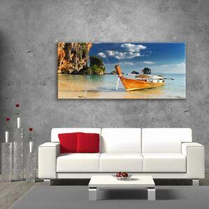 Wall-Art-Glass-Print-Picture-Unique-Decor-Coast-Boat-Stone-Sea-Island-cm-125x50